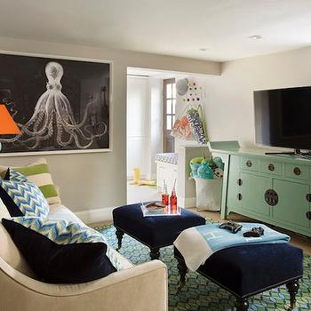 Playroom in Basement, Contemporary, basement, Liz Caan Interiors