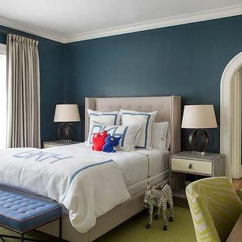 Peacock Blue Walls, Contemporary, boy's room, Liz Caan Interiors