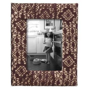 Decor/Accessories - Nate Berkus Burlap Frame with Ox Blood Lace Overlay I Target - burlap frame with lace overlay, burlap frame with brown lace overlay, brown lace photo frame,