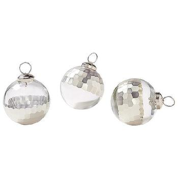 Miscellaneous - Plated Glass Ornaments Silver (Set of 3) | Serena & Lily - silver and glass christmas tree ornaments, silver faceted glass christmas tree ornaments, modern silver and glass christmas tree ornaments,