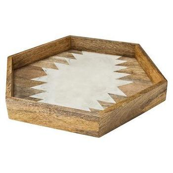 Decor/Accessories - Nate Berkus Wood and Resin Hexagon Tray I Target - hexagonal wood and resin tray, hexagonal wooden tray, hexagonal wood tray with white geometric pattern.