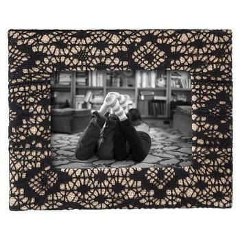 Decor/Accessories - Nate Berkus Burlap Frame with Black Lace Overlay I Target - burlap photo frame with black lace overlay, black lace photo frame, overlaid black lace photo frame,