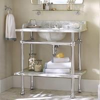 Bath - Apothecary Single Sink Console | Pottery Barn - marble topped washstand sink, marble washstand sink with marble shelf, chrome washstand sink with marble counter and shelf,