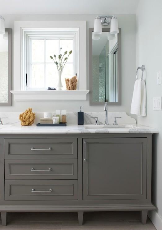 Gray double sink vanity contemporary bathroom rachel - Furniture type bathroom vanities ...