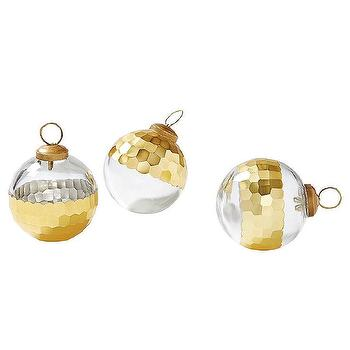 Miscellaneous - Plated Glass Ornaments Gold (Set of 3) | Serena & Lily - gold plated glass christmas tree ornaments, gold faceted glass christmas tree ornaments, modern gold and glass christmas tree ornaments,