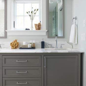 Rachel Reider Interiors - bathrooms: gray walls, gray wall color, dual vanity, gray vanity, gray sink vanity, gray dual sink vanity, footed gray dual sink vanity, dual sinks, his and hers sinks, master bath, master bathroom, nickel hardware, gray floors, gray flooring, marble counter, marble countertops, polished chrome faucets, gray vanity with drawers, towel ring, window over vanity, window over bathroom vanity, gray vanity mirror, gray framed mirror, polished nickel and frosted glass sconce, polished nickel and frosted glass double sconce, fray double vanity, gray double washstand, gray double sink vanity, double sink vanity, gray double washstand, gray mirrors, gray lacquer mirrors,