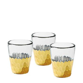 Decor/Accessories - Plated Glass Votives Gold (Set of 4) | Serena & Lily - gold faceted candle votives, gold plated glass votive, gold plated candle votives,