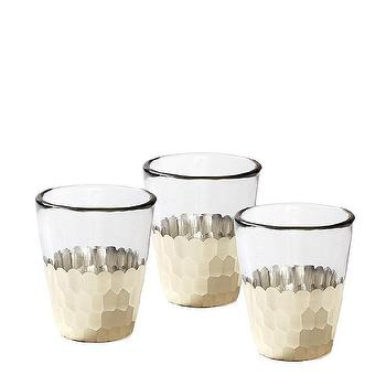 Decor/Accessories - Plated Glass Votives Silver (Set of 4) | Serena & Lily - silver faceted glass votives, silver and glass candle votives, modern silver and glass votives,