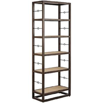 Storage Furniture - Cabot Bookshelf Tall | Serena & Lily - gray mahogany bookshelf, freestanding bookshelf with raffia wrapped shelves, mahogany bookshelf with brass detail,