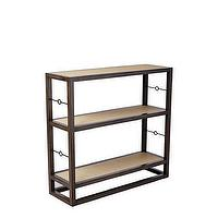 Storage Furniture - Cabot Bookshelf Short | Serena & Lily - gray mahogany bookshelf, freestanding bookshelf with raffia wrapped shelves, mahogany bookshelf with brass detail,
