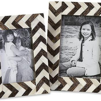 Decor/Accessories - Chevron Bone Picture Frames - Set of 2 | HomeDecorators.com - chevron bone frames, black and white chevron bone frame, black and white bone inlaid chevron frame,