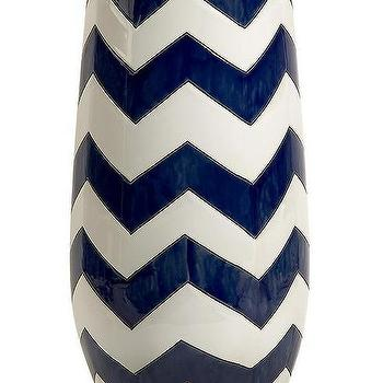 Decor/Accessories - Chevron Vase | HomeDecorators.com - navy and white chevron vase, navy and white zig zag vase, chevron vase,