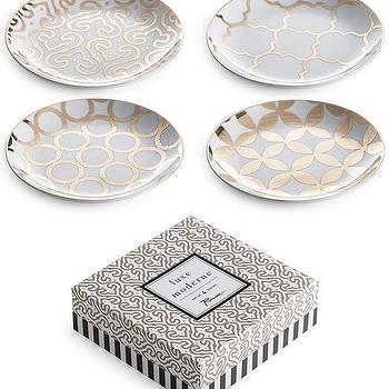 Decor/Accessories - Luxe Moderne Appetizer Plates - Set of 4 | HomeDecorators.com - gold and white appetizer plates, geometric gold and white appetizer plates, 24 gold and white appetizer plates,