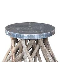 Tables - Sage Side Table | Calypso St. Barth - driftwood side table, round driftwood side table, driftwood side table with steel top,