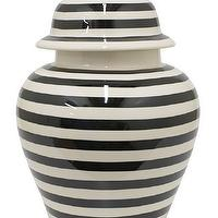 Decor/Accessories - Striped Temple Jar | HomeDecorators.com - black and white striped jar, black and white striped urn, black and white striped ginger jar,