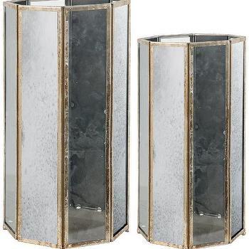 Decor/Accessories - Pesaro Lanterns - Set of 2 | HomeDecorators.com - antiqued glass candle holder, octagonal antiqued glass candle lantern, antiqued glass and gold candle lantern,