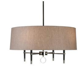 Lighting - Robert Abbey Lighting Jonathan Adler Ventana 1 Tier Chandelier I 1 Stop Lighting - black and nickel chandelier with linen shade, linen drum shade chandelier, contemporary linen drum chandelier,