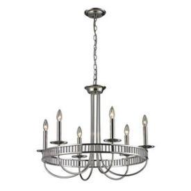 Lighting - Elk Lighting Braxton Six Light Chandelier I 1 Stop Lighting - polished nickel chandelier, contemporary polished nickel chandelier, polished nickel candelabra chandelier,