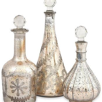 Decor/Accessories - Audrey Etched Decanters - Set of 3 | HomeDecorators.com - mercury glass decanters, etched mercury glass decanters, antiqued mercury glass etched decanters,