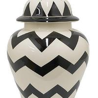 Decor/Accessories - Zig Zag Temple Jar | HomeDecorators.com - black and white zig zag jar, black and white zig zag ginger jar, black and white chevron ginger jar, black and white chevron lidded jar,