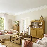 Pink Ottoman Transitional Living Room Lynn Morgan Design