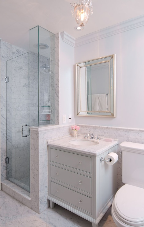Grey Washstand Transitional Bathroom Emily Hollis
