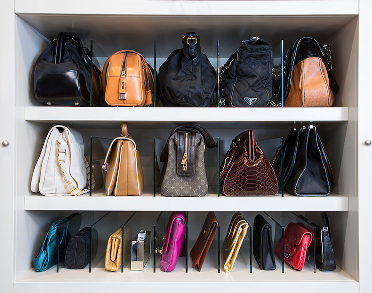 How to store bags transitional closet la closet design - How to hang bags in closet ...