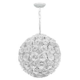 Lighting - Crystorama Lighting Cypress One Light Mini Chandelier I 1 Stop Lighting - round white floral chandelier, round white flower cluster chandelier, sphere shaped white floral chandelier,