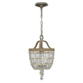 Lighting - Crystorama Lighting Eva One Light Chandelier I 1 Stop Lighting - clear beaded chandelier, jute wrapped beaded chandelier, clear beaded jute chandelier,