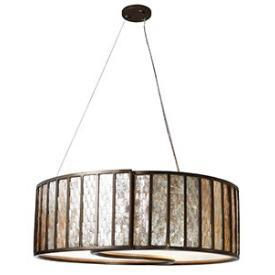 Lighting - Varaluz Lighting Affinity Five Light Drum Pendant I 1 Stop Lighting - capiz shell drum pendant, silver and capiz shell pendant, capiz drum pendant,