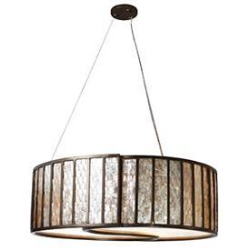Lighting - Varaluz Lighting Affinity Five Light Drum Pendant I 1 Stop Lighting - capiz shell drum pendant, silver and capiz shell pendant, capiz drum pendant,