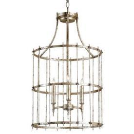 Lighting - Currey and Company Xander Three Light Hanging Lantern I 1 Stop Lighting - silver lantern pendant, antique silver lantern pendant, antiqued silver lantern pendant,