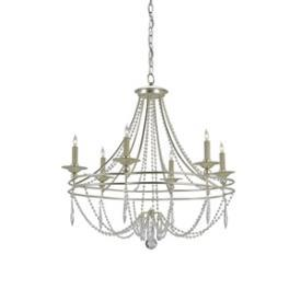 Lighting - Currey and Company Watteau Six Light Chandelier I 1 Stop Lighting - silver beaded chandelier, silver crystal beaded chandelier, silver chandelier with clear crystal beads,