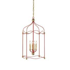 Lighting - Currey and Company Carousel Four Light Ceiling Fixture I 1 Stop Lighting - red and gold lantern pendant, red and gold open lantern pendant, red lantern pendant with gold trim,
