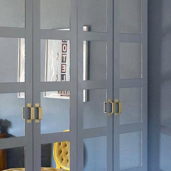 Little Green Notebook - closets - Benjamin Moore - Knoxville Gray - ikea wardrobe, ikea pax, ikea pax system, pax system, pax wardrobe, ikea doors, ikea closet, ikea closet doors, ikea wardrobe door, bergbo doors, ikea closet system, gray wardrobe, gray wardrobe cabinets, gray closet cabinets, mirrored doors, closet with mirrored doors wardrobe with mirrored doors, chunky hardware, gold hardware, gold handles, spray painted hardware, wardrobe moldings, cabinet moldings, gray moldings, dentil moldings,