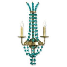 Lighting - Currey and Company Serena Two Light Wall Sconce I 1 Stop Lighting - aqua beaded wall sconce, aqua crystal beaded wall sconce, gold wall sconce with aqua beading,