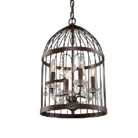 Lighting - Artcraft Lighting Burbank Eight Light Chandelier I 1 Stop Lighting - bird cage lantern, iron bird cage lantern, iron bird cage lantern with crystal droplets,