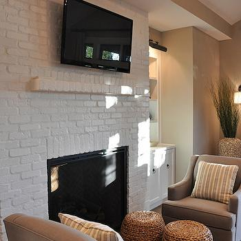 White Brick Fireplace, Transitional, living room, House of Fifty