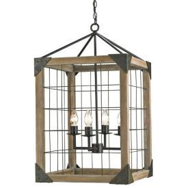 Lighting - Currey and Company Eufaula Four Light Hanging Lantern I 1 Stop Lighting - industrial lantern pendant, wood and wire lantern, wood and wire hanging lantern,