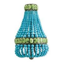 Lighting - Currey and Company Lana Two Light Wall Sconce I 1 Stop Lighting - turquoise beaded wall sconce, turquoise and jade beaded wall sconce, beaded wall sconce,