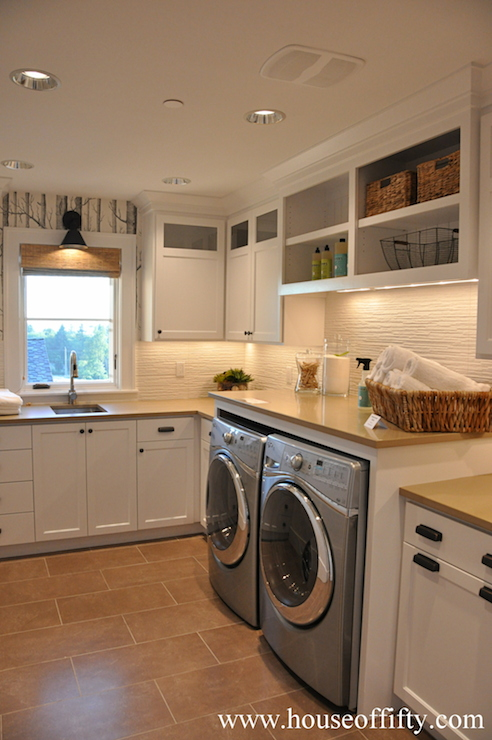 , white cabinetry, white laundry room cabinets, white laundry room ...