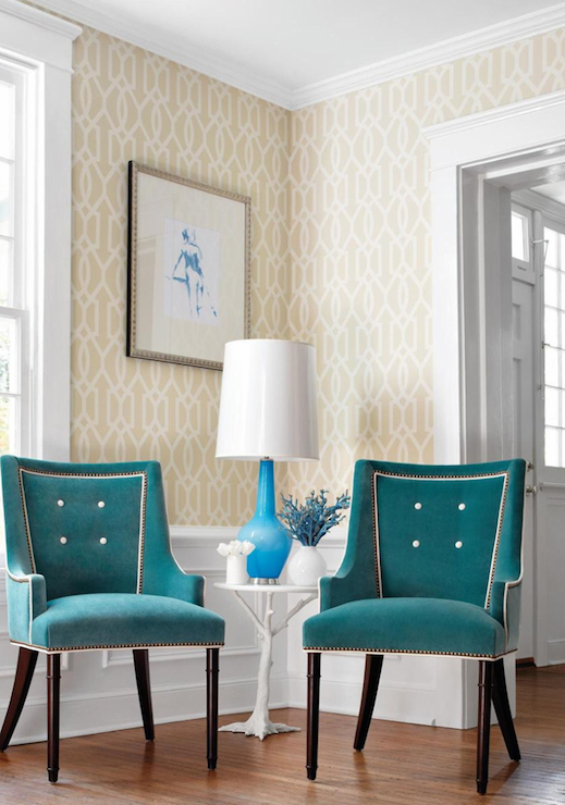 Peaock Blue Chairs Contemporary Living Room Thibaut