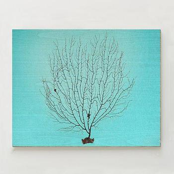 Art/Wall Decor - Birch Print -A�Black Coral | west elm - coral art print, turquoise coral art, turquoise and white coral wall art,