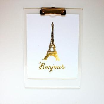 Bonjour Gold Foil Print Eiffel Tower Art by BisforBonnie I Etsy