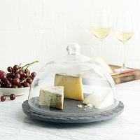 Decor/Accessories - Slate + Glass Domed Tray | west elm - slate and glass domed tray, slate cheese tray with glass dome, glass cloche cheese tray,