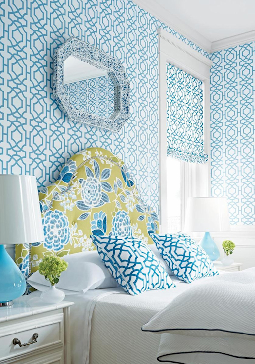 Turquoise trellis wallpaper contemporary bedroom thibaut for Turquoise wallpaper for bedroom