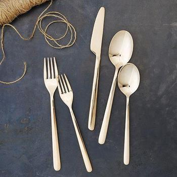 Decor/Accessories - Rose Gold Flatware Sets | west elm - rose gold flatware, rose gold cutlery, rose gold dinnerware,