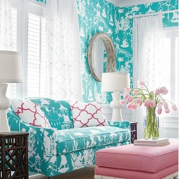 Turquoise Sofa, Contemporary, living room, Thibaut