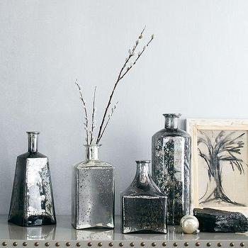 Mercury Glass Bottle Vases, Onyx, west elm