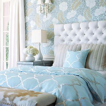 Turquoise Duvet, Transitional, bedroom, Thibaut Design